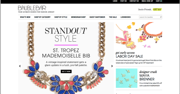 Bauble Bar website front