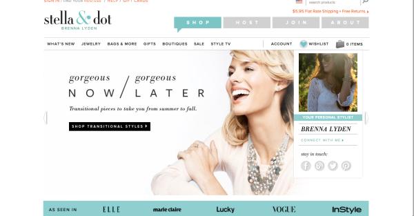 Stell & Dot website front